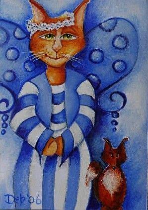 Art: Blue Fairy and Fox by Artist Deb Harvey