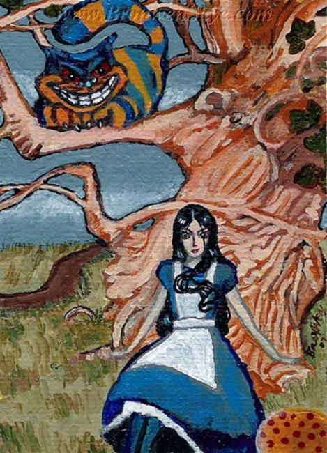 Art: Goth Alice and the Cheshire Cat by Artist Bronwen Skye