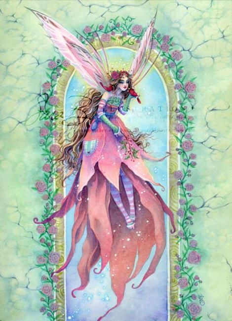 Art: Cardinal Fairy by Artist Sara Burrier