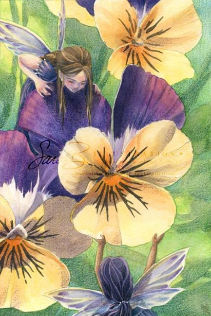 Art: Pansy Sisters by Artist Sara Burrier
