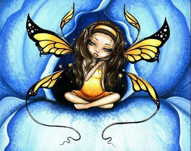 Art: Heart Of The Blue Iris by Artist Elaina Wagner