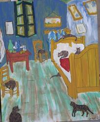 Art: Cats in Van Gogh's Bedroom original by Artist Nancy Denommee