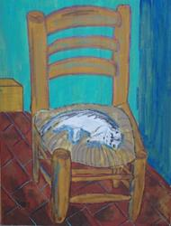 Art: Kitten Sleeping on Van Gogh's Chair original by Artist Nancy Denommee