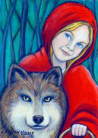 Art: Little Red Riding Hood Revisited ACEO by Artist Lisa M. Nelson