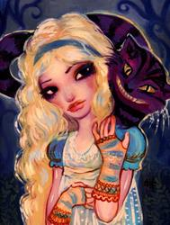 Art: Alice and The Cheshire by Artist Natasha Wescoat