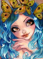 Art: Butterflies In Her Hair by Artist Natasha Wescoat