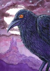 Art: Raven Sentry Painting by Artist Lisa M. Nelson