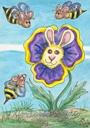Art: Bumble Bee Bunnies Visiting Pansy Rabbit - SOLD by Artist Kim Loberg
