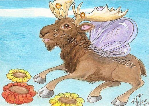 Art: Moose Fly in Flight by Artist Kim Loberg