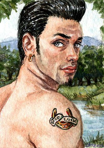 of Good Luck I have painted a guy with a Good Luck horseshoe tattoo on