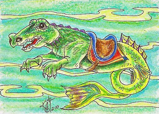 Art: Alligator Hippocampus Sea Carousel #26 by Artist Kim Loberg
