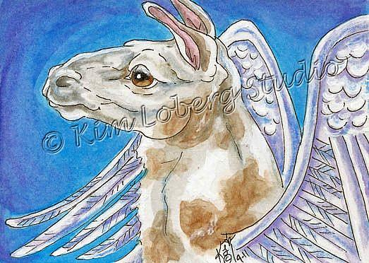 Art: Winged Llama by Artist Kim Loberg