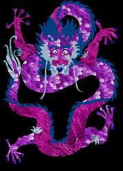Art: Purple Asian Dragon by Artist Carissa M Martos