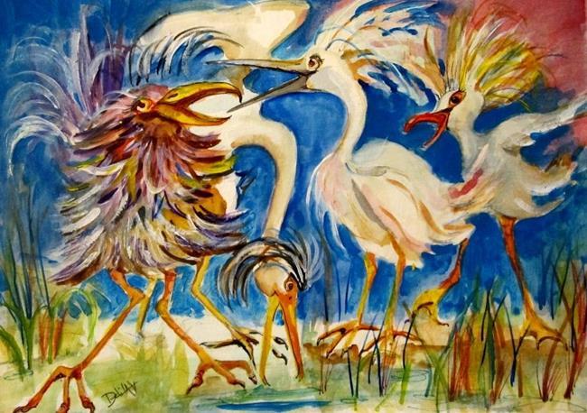 Art: Four Calling Birds by Artist Delilah Smith