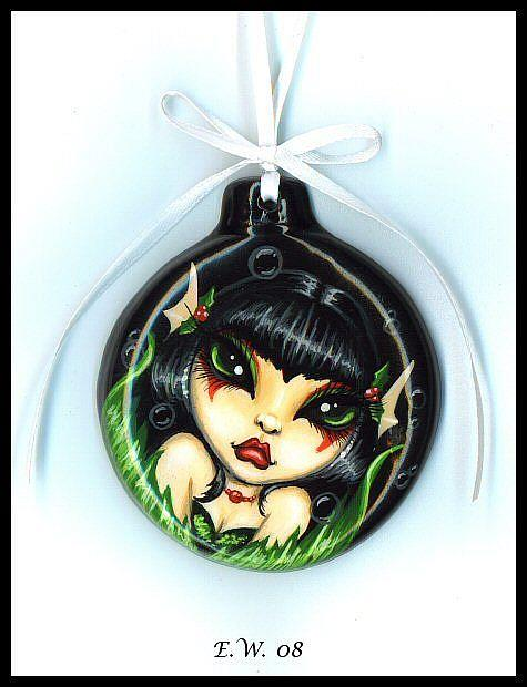 Art: Holly Mermaid Ornament by Artist Elaina Wagner