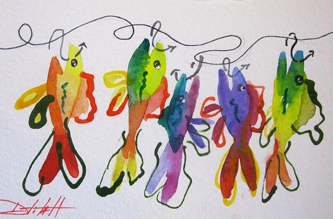Art: Colorful Fish on a Hook by Artist Delilah Smith