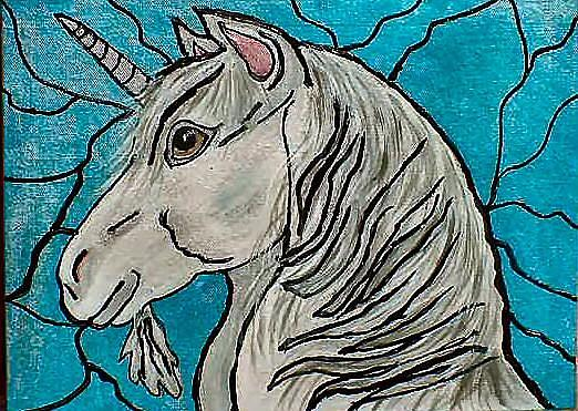 Art: Stained Glass look Unicorn by Artist Dia Spriggs