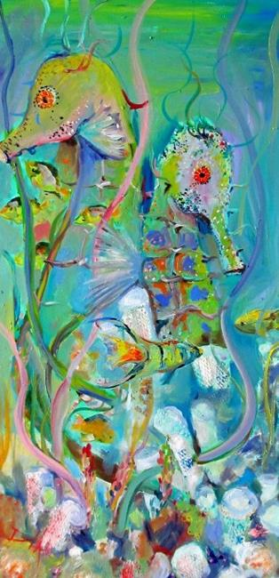 Art: Two Seahorse with Fish by Artist Delilah Smith
