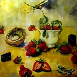 Art: Dragonfly and Strawberries by Artist Delilah Smith