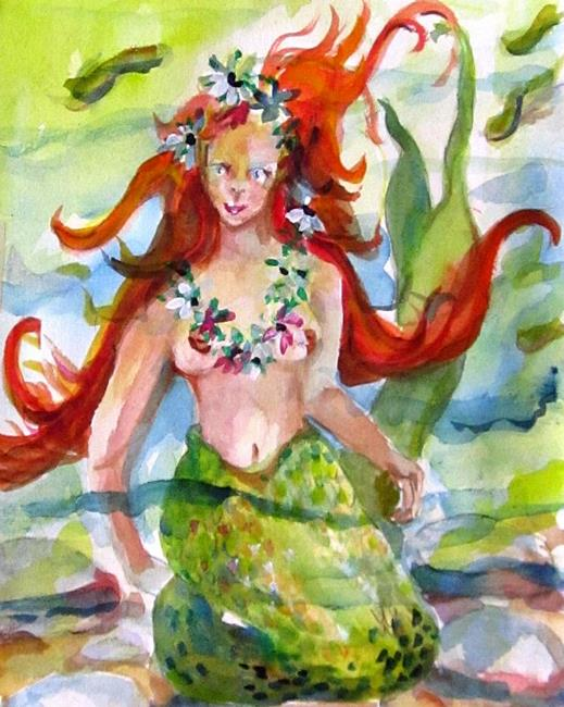 Art: Mermaid and Fish by Artist Delilah Smith