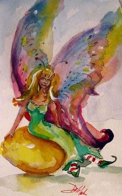 Art: Fairy on Lemon-sold by Artist Delilah Smith