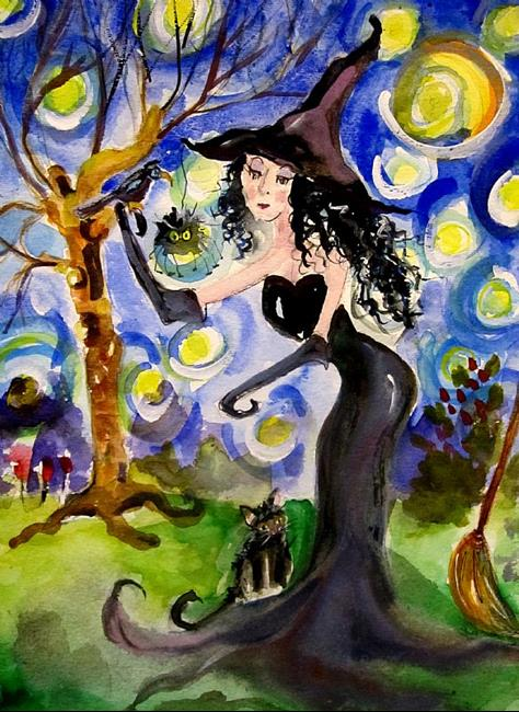 Art: Starry Night with Witch-SOLD by Artist Delilah Smith