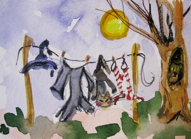 Art: Wash Day Aceo by Artist Delilah Smith