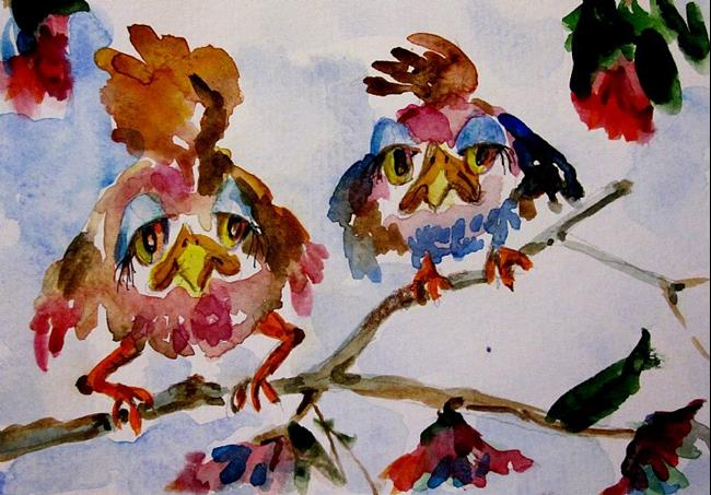 Art: Sad Birds on a Limb by Artist Delilah Smith