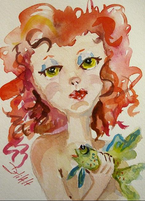 Art: Red Hair Mermaid and Pet fish by Artist Delilah Smith