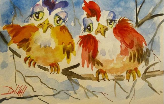Art: Sad Winter Birds by Artist Delilah Smith