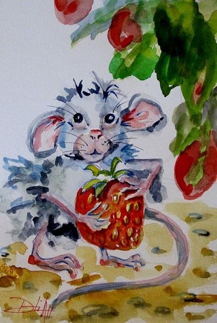 Art: Mouse and Strawberry by Artist Delilah Smith