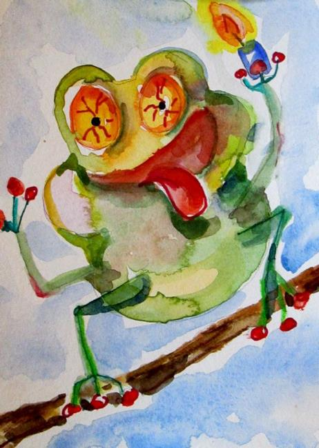 Art: Happy Birthday Frog-sold by Artist Delilah Smith