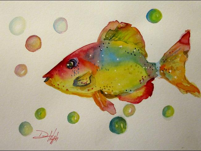 Art: Fish Bubbles.JPG by Artist Delilah Smith