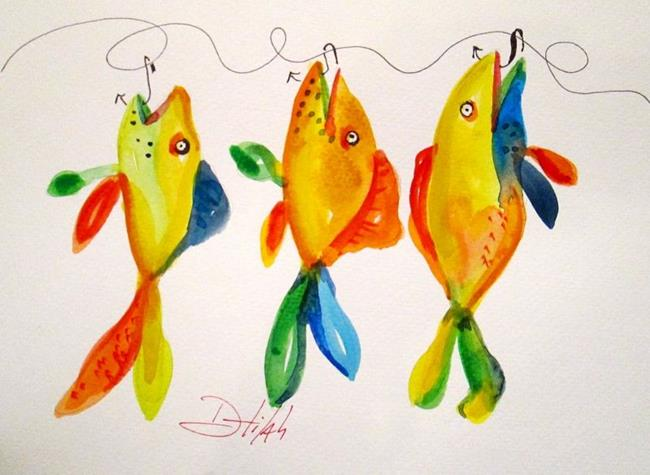 Art: Yellow Fish on a Hook by Artist Delilah Smith