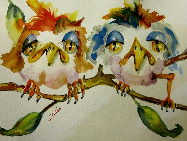 Art: Two Sad Bird- SOLD by Artist Delilah Smith