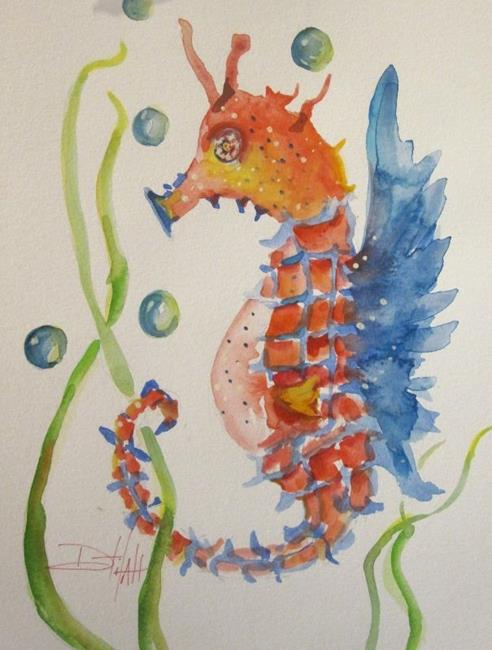 Art: Red White and Blue Seahorse by Artist Delilah Smith