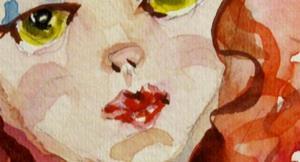 Detail Image for art Red Hair Mermaid and Pet fish
