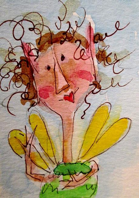 Art: Yellow WInged Fairy by Artist Delilah Smith
