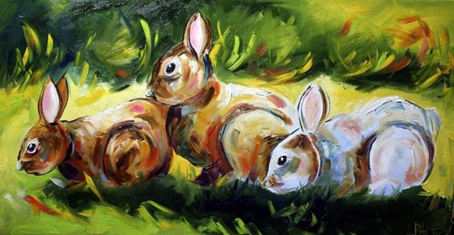 Art: Bunnies Under the Deck by Artist Laurie Justus Pace