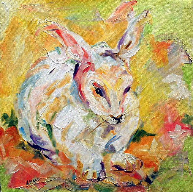 Art: White Bunny Two by Artist Laurie Justus Pace