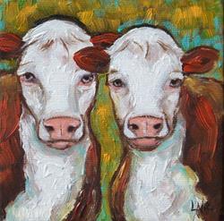 Art: Hereford Cattle by Artist Lisa M. Nelson