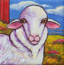 Art: Baaaaa!  Sheep Painting by Artist Lisa M. Nelson