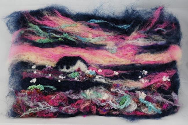 Art: Pink Sky at Sunset by Artist Julie Hollis