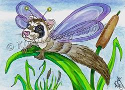 Art: Ferret Dragon Fly by Artist Kim Loberg