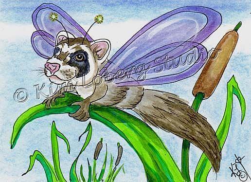 Art: Ferret Dragon Fly by Artist Kim Loberg