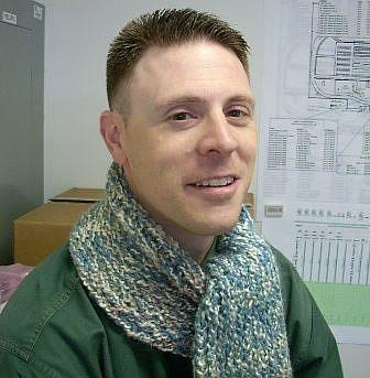 Art: Manly Heather Knit Scarf by Artist Sherry Key