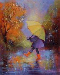 Art: Yellow Umbrella, Red Boots ~ Sold by Artist Patricia  Lee Christensen