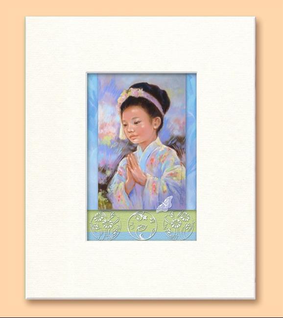 Art: Japanese Child Dancer - Bon Odori - Matted Print by Artist Patricia  Lee Christensen