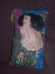 Art: Judith handpainted cushion SOLD by Artist Nancy Denommee