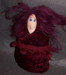 Art: Magenta original cloth doll by Artist Nancy Denommee